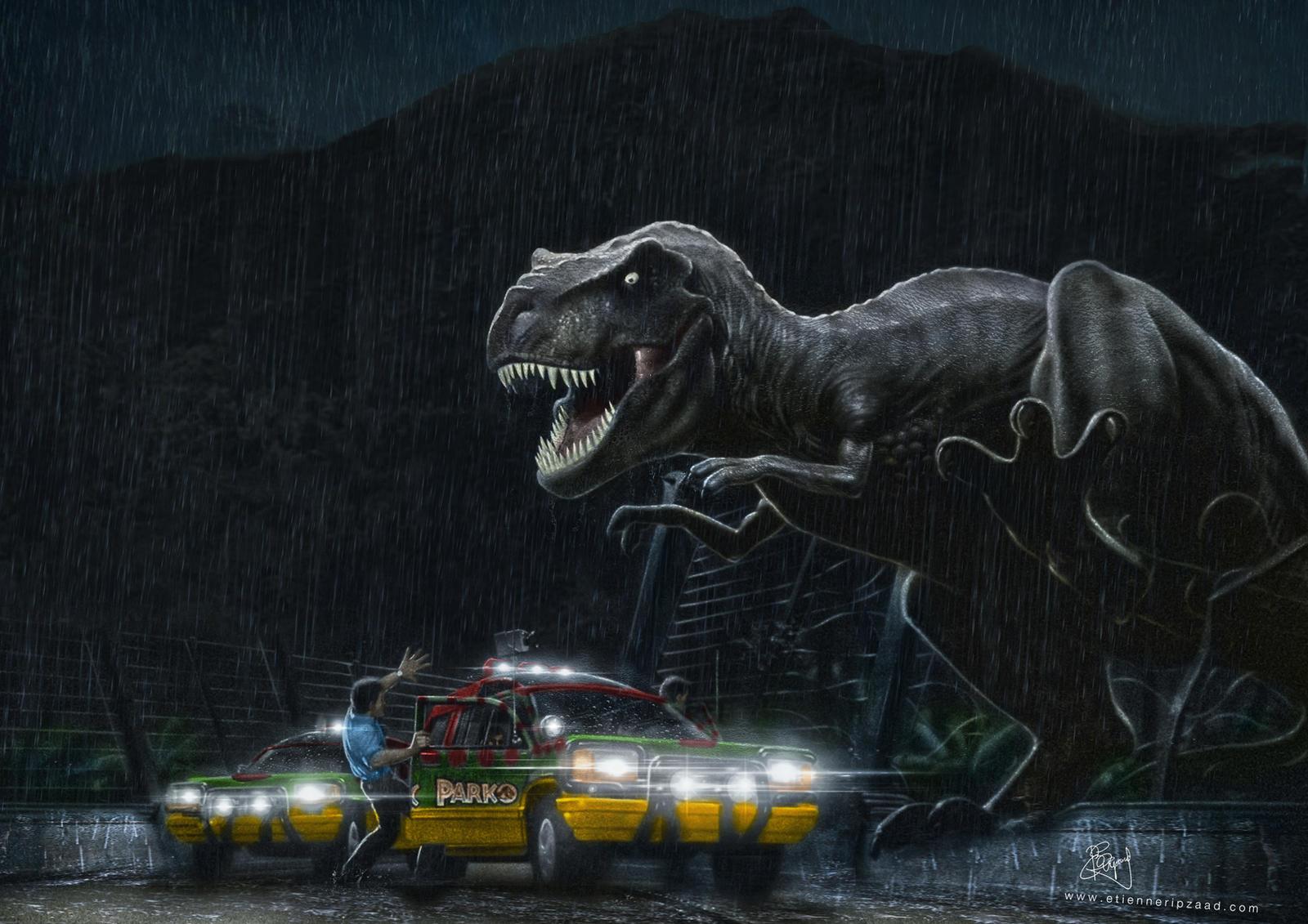 Jurassic park card 3 by chicagocubsfan24 on deviantart - Jurassic Park Tyrannosaurus Outbreak By Etienne Ripzaad