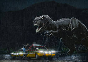 Jurassic Park Tyrannosaurus outbreak by Etienne-Ripzaad