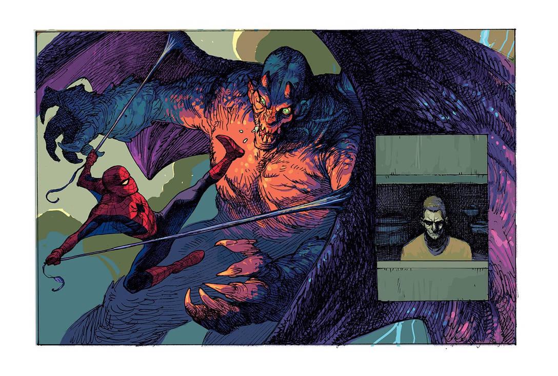 Spider-Man vs green goblin detail by dogmeatsausage