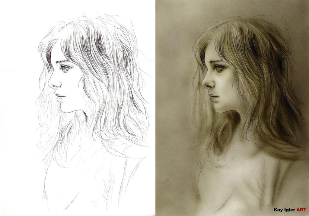 Chloe (Ink to Airbrush) by KayIglerART