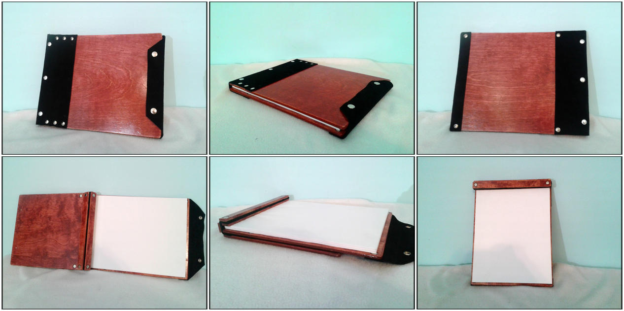 Wood and Leather bound Sketchbook  by RawringCrafts
