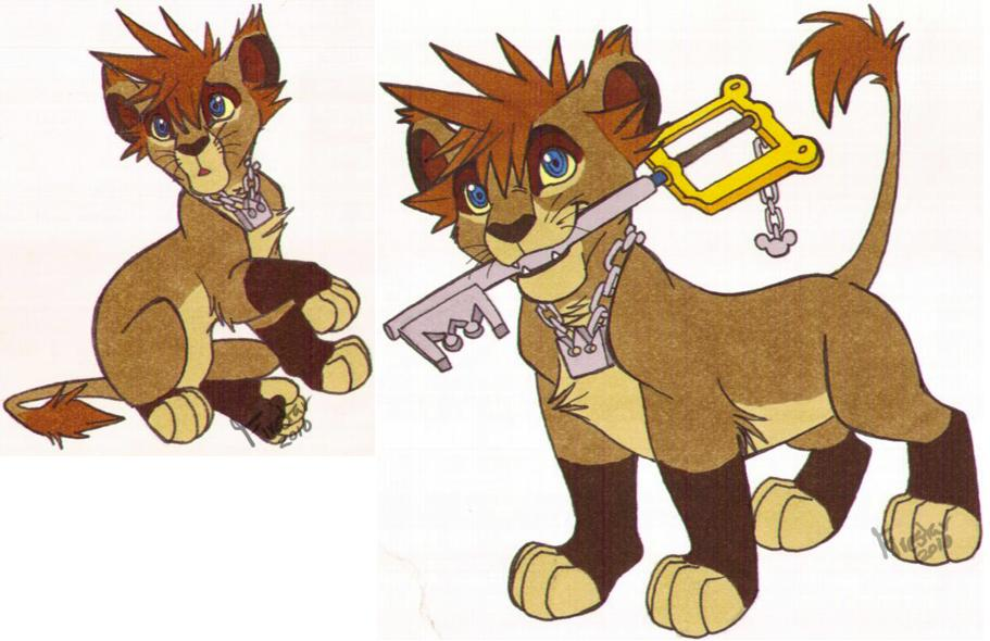 Sora Kingdom Hearts Lineart : Copic sora lion by kaisertiger on deviantart