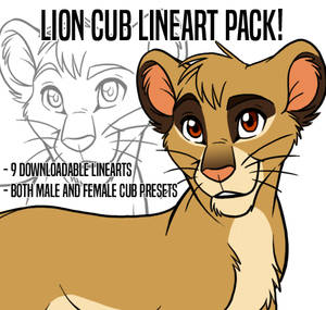 Lineart pack: Lion Cubs!