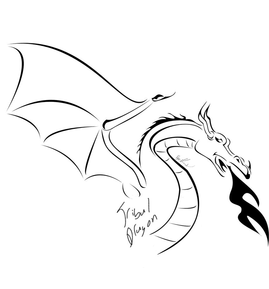 Tribal Dragon 2 - chest tattoo