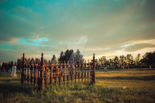 Fort Macleod Cemetary at Sunset