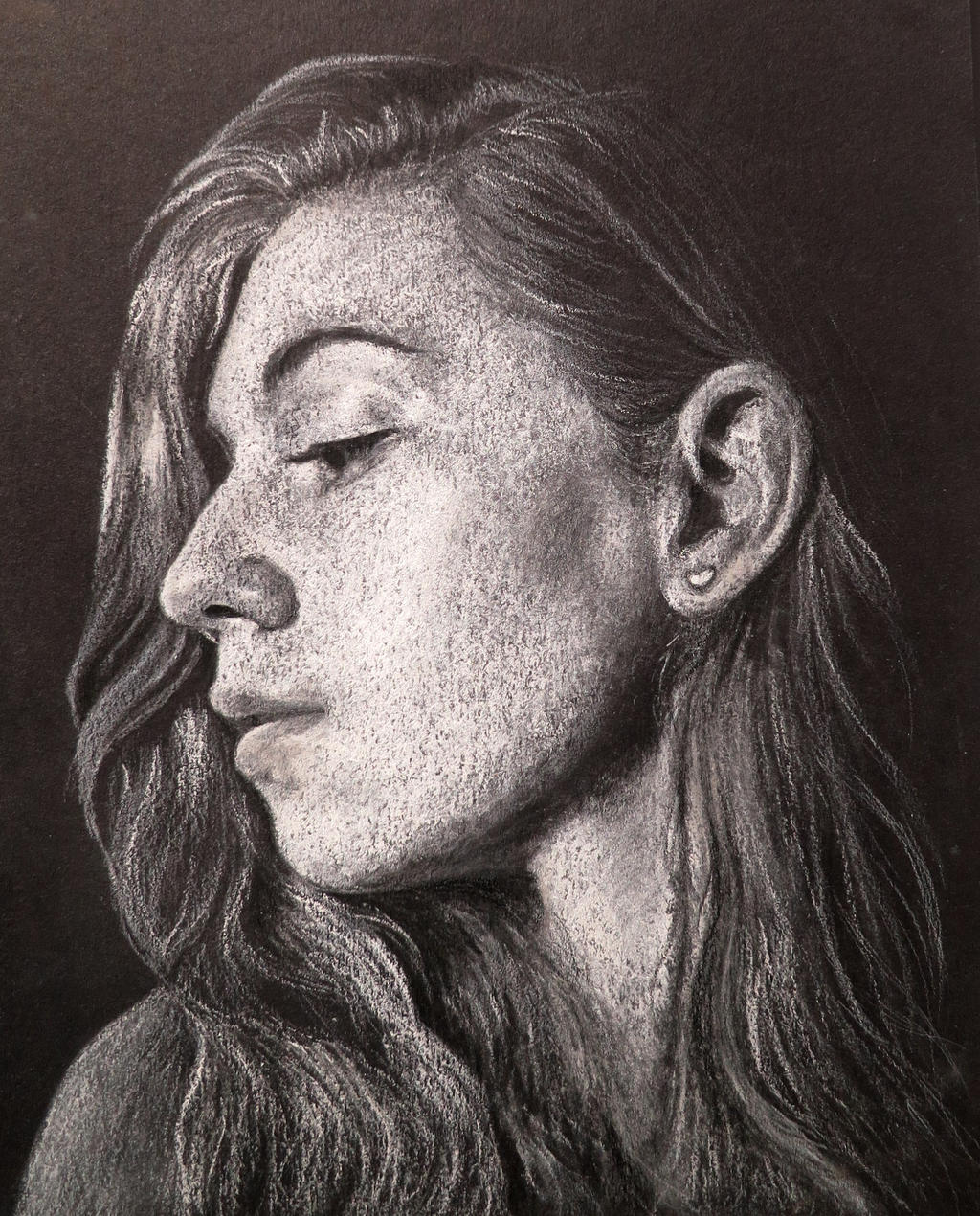 Self Portrait (White on Black Paper) by EnigmaticDoodle
