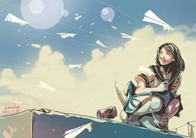 paper plane by kyan-dog