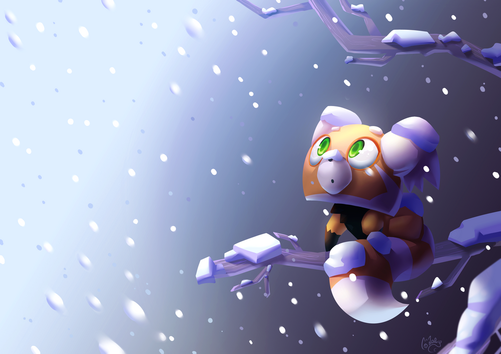 Little red panda discovering snow by MlleMalice