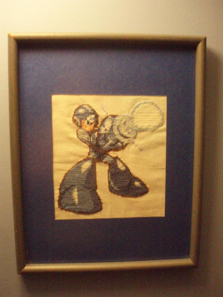 Megaman Cross Stitch by micadjems