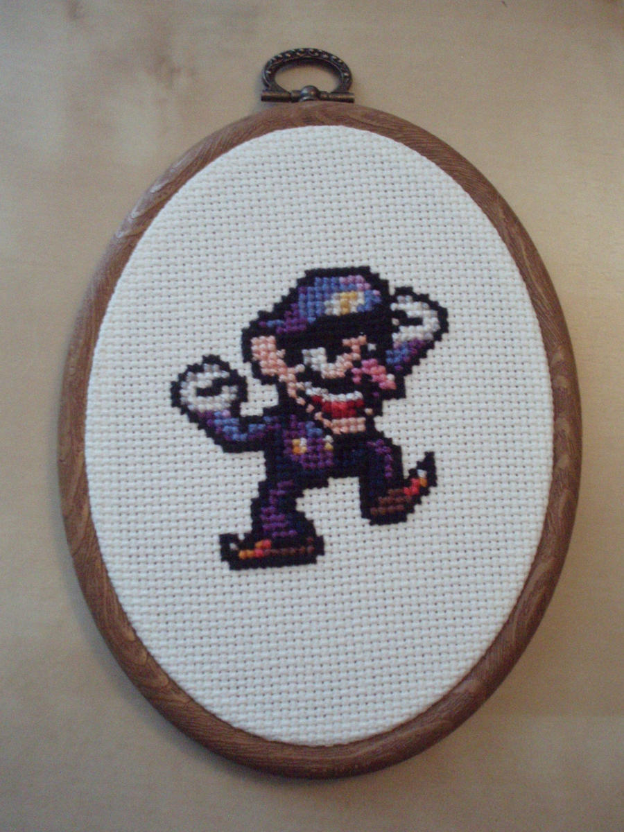 Waluigi cross stitch commission by micadjems
