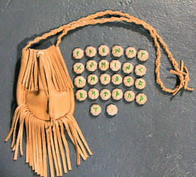 Marble Runes and Leather Bag
