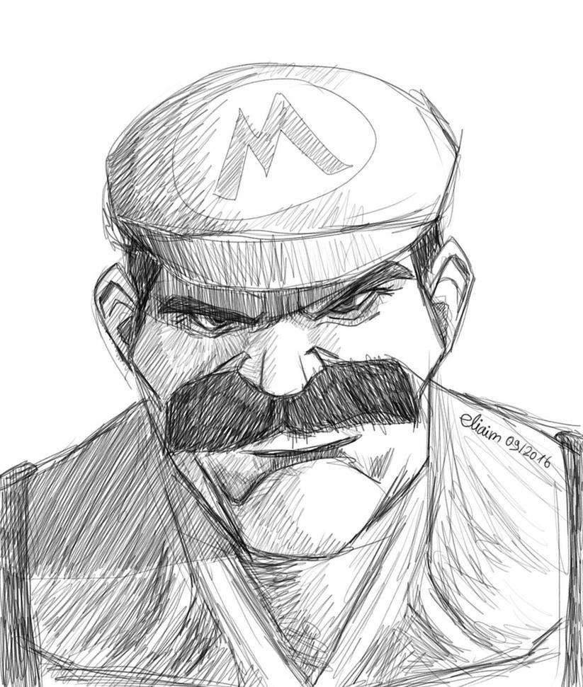 Badass Super Mario sketch by eliaim