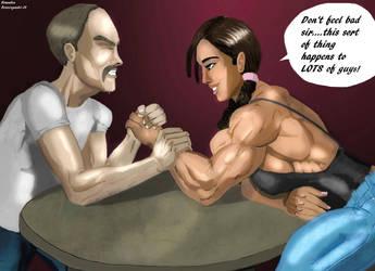Arm Wrestling with Ravishing Rebecca by BrandonB-80