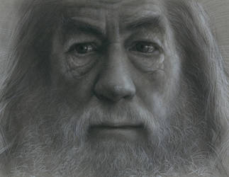 Gandalf Charcoal Drawing by JW-Jeong