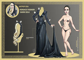 Lady Gaga Paper Doll: Versace Show 2014 by DibuMadHatter