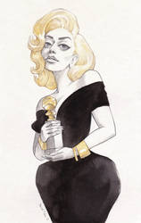 Gaga with her Golden Globe by DibuMadHatter