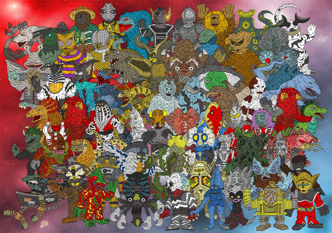 Ultraseven Complete 64 Kaijus by earthbaragon