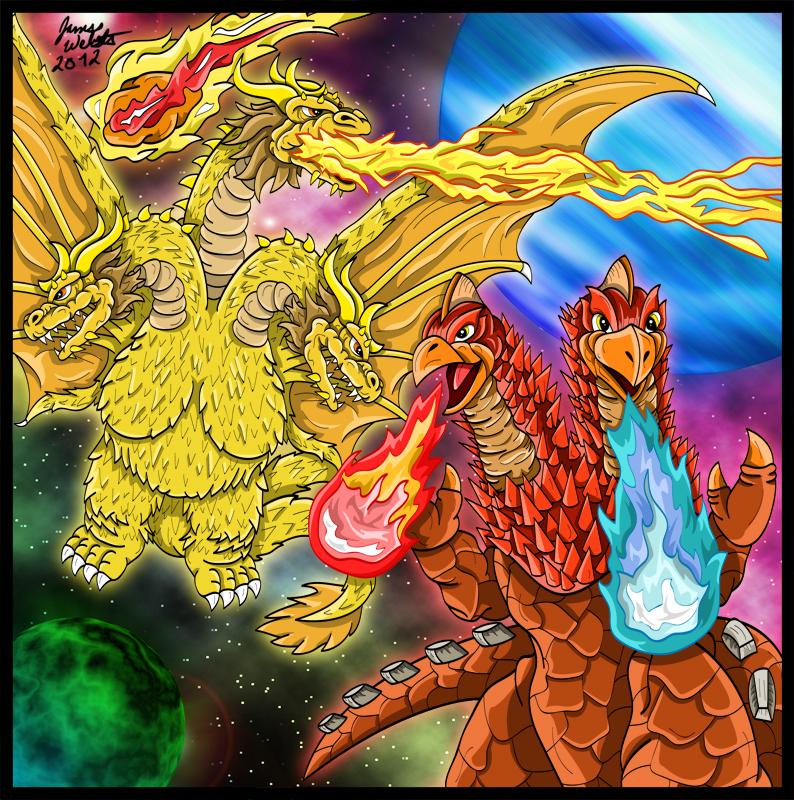King Ghidorah and Neo Pandon - Cosmic Tyrants by earthbaragon
