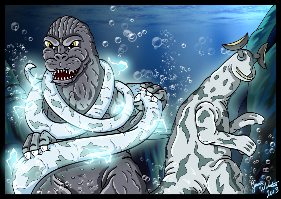 Godzilla and Eleking - The Thunder From Down Under by earthbaragon