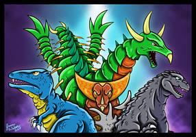 Godzilla and Gorosaurus - Kaiju Battle by earthbaragon