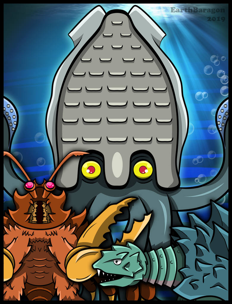 Godzilla Kaijus - The Yog Trio at Sea by earthbaragon