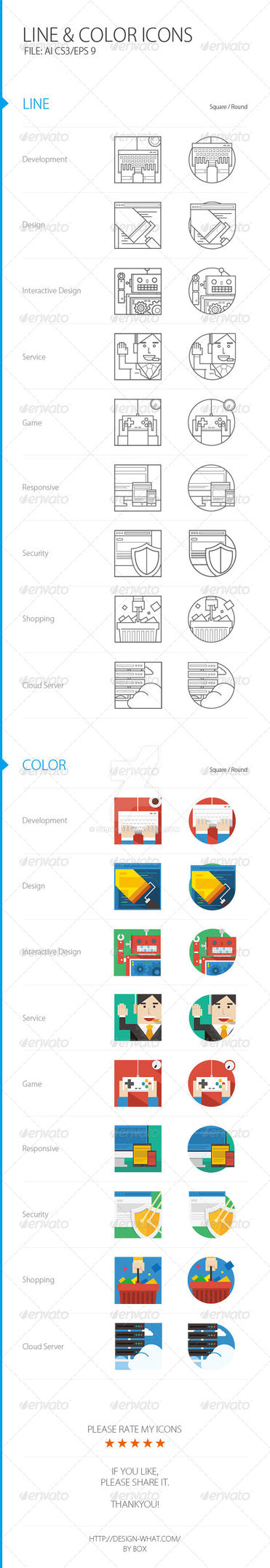 Line Color ICONs by 90Box