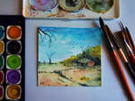 landscape with watercolor