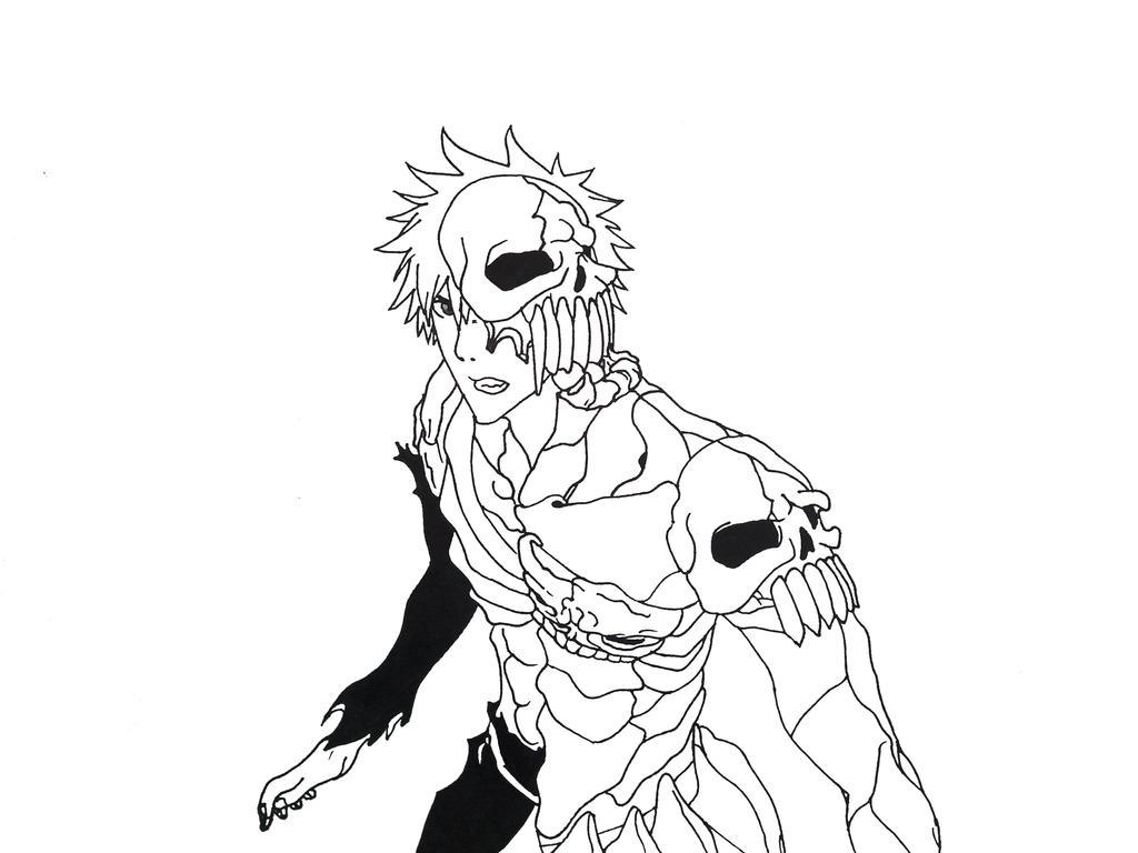 Hell Ichigo Lineart on paper by DOGGMAFFIA