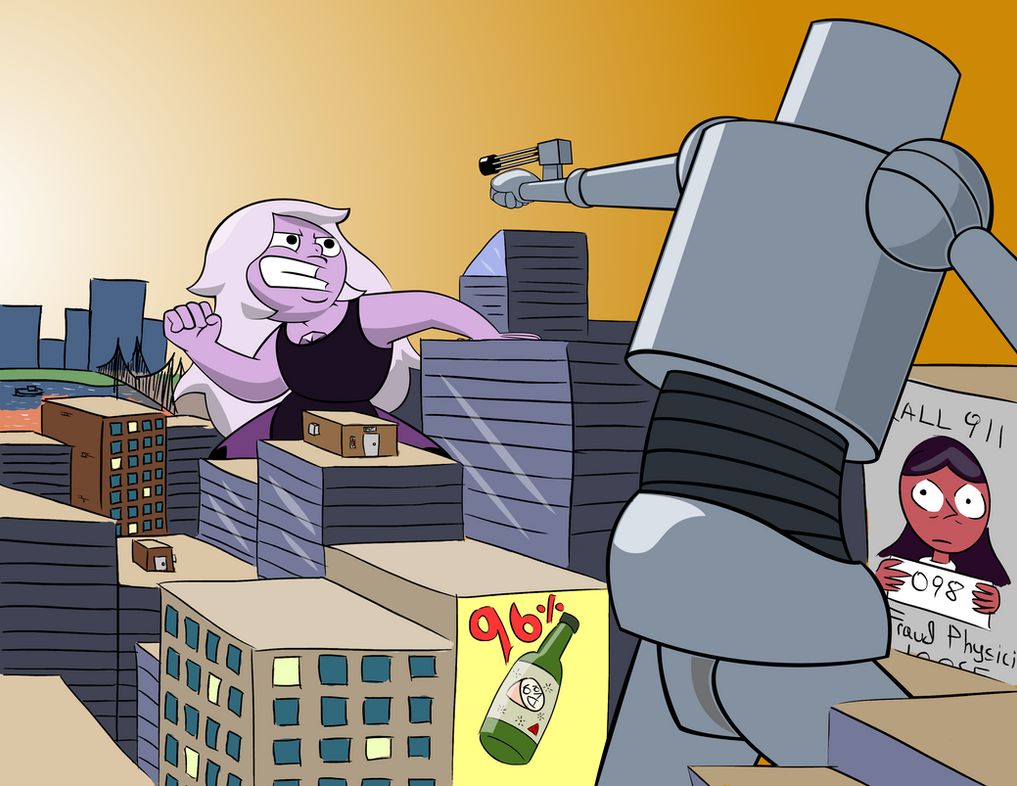 Amethyst vs Giant Robot by Guy-From-South-Asia