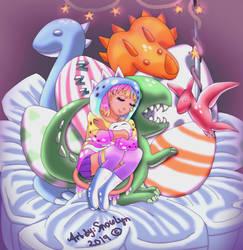 My sleeping Nunuke with Dinosaurs plushie by Snowlyn