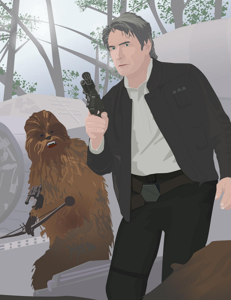 Han and Chewie [The Force Awakens] [vector] by flash-and-blood