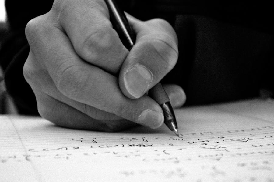Writing photography black and white
