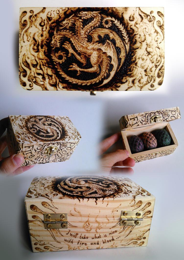 House Targaryen - Wooden Box Pyrography by FizikArt