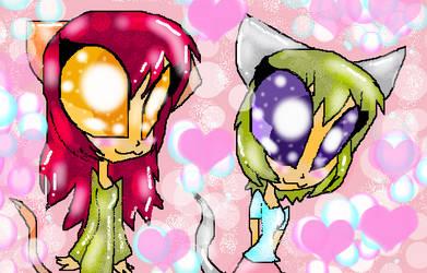 Raku-chan and Koneko-chan by TheGreedGirl