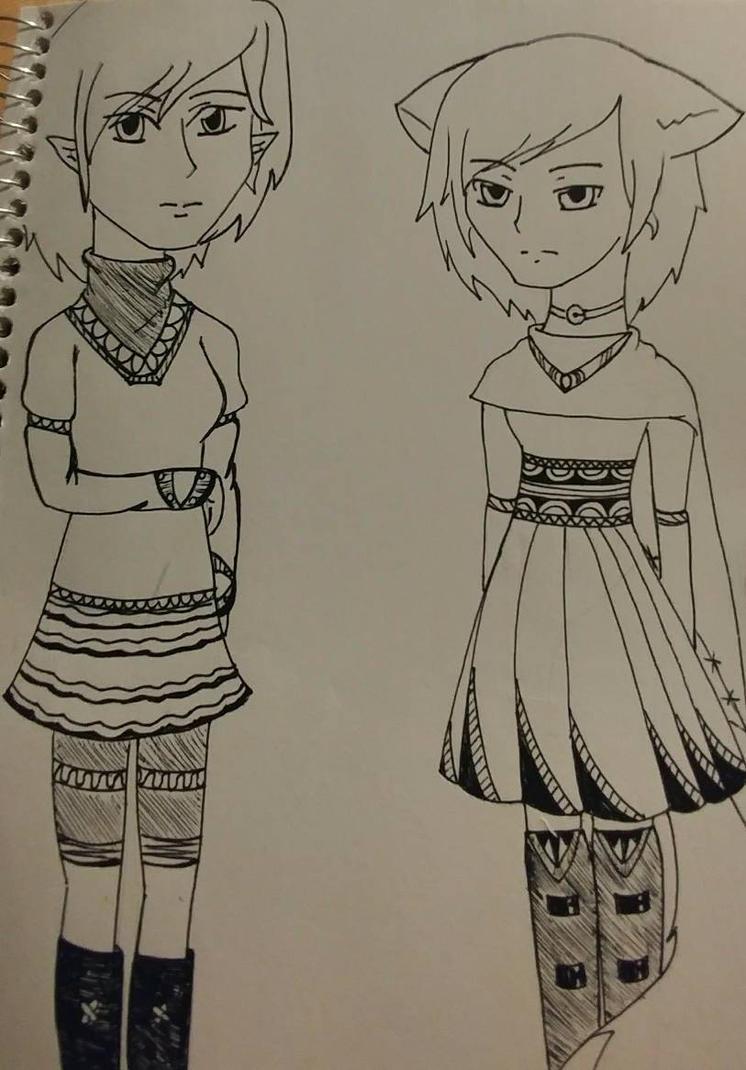 Elf and Fox in pen by RandomPaperWork