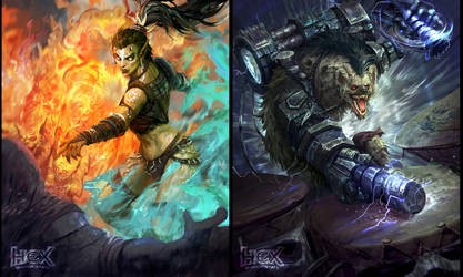 The illustrations  for HEX TCG