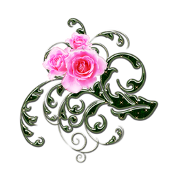pink roses and green swirls png 1