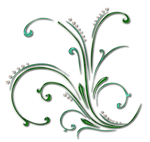 green swirls with pearls png