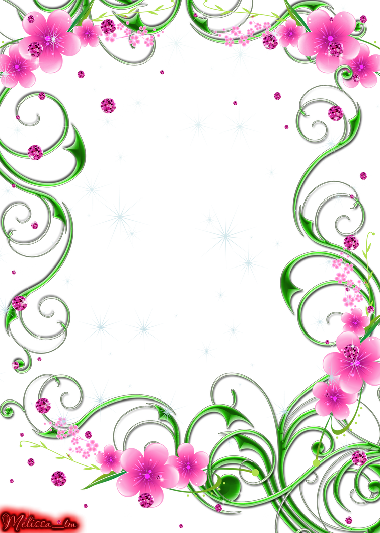 Green Swirls With Pink Flowers And Gems Png By Melissa Tm On Deviantart