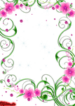 green swirls with pink flowers and gems png