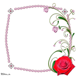 frame from pink gems with rose and swirl png