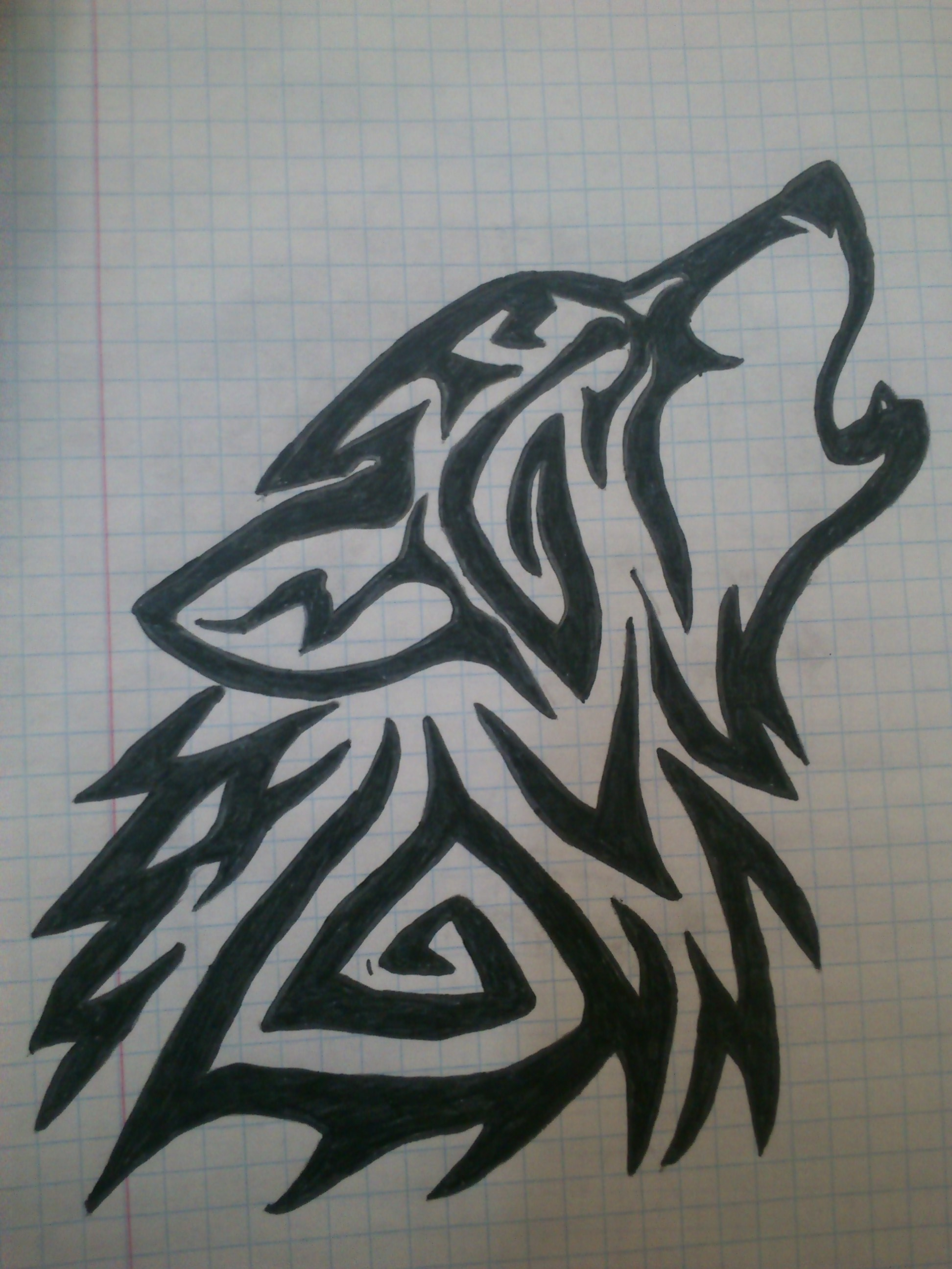 easy tribal wolf drawing - photo #22