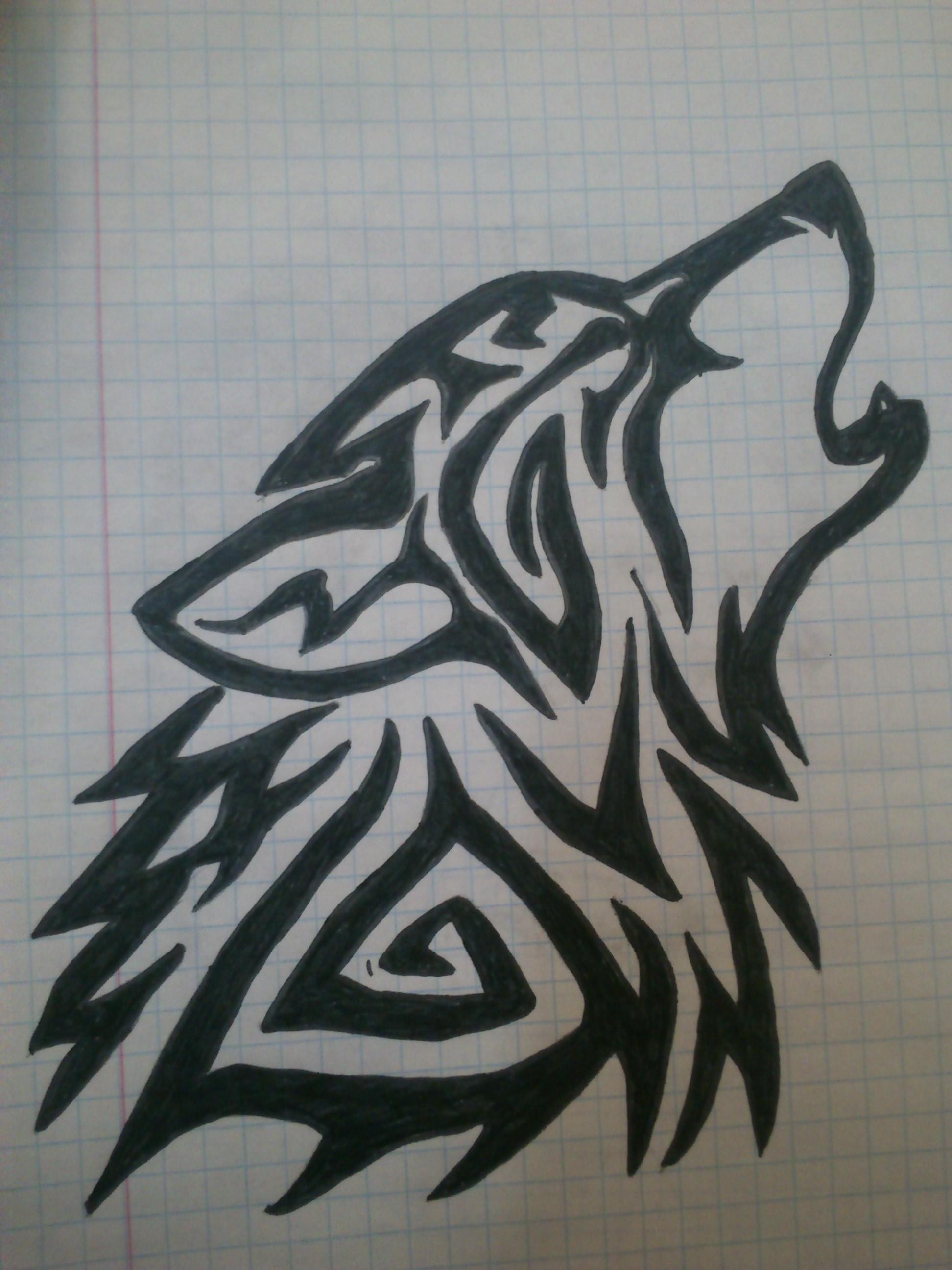 Tribal wolf tattoo dra...