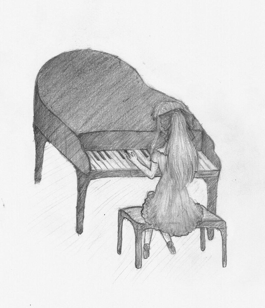 Anime Girl Playing Piano Drawing