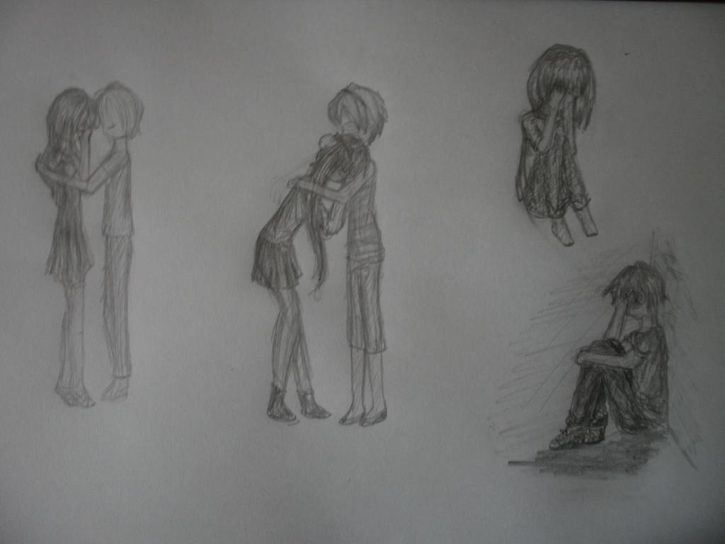 Random sad drawings by 1verborgenverhaal1
