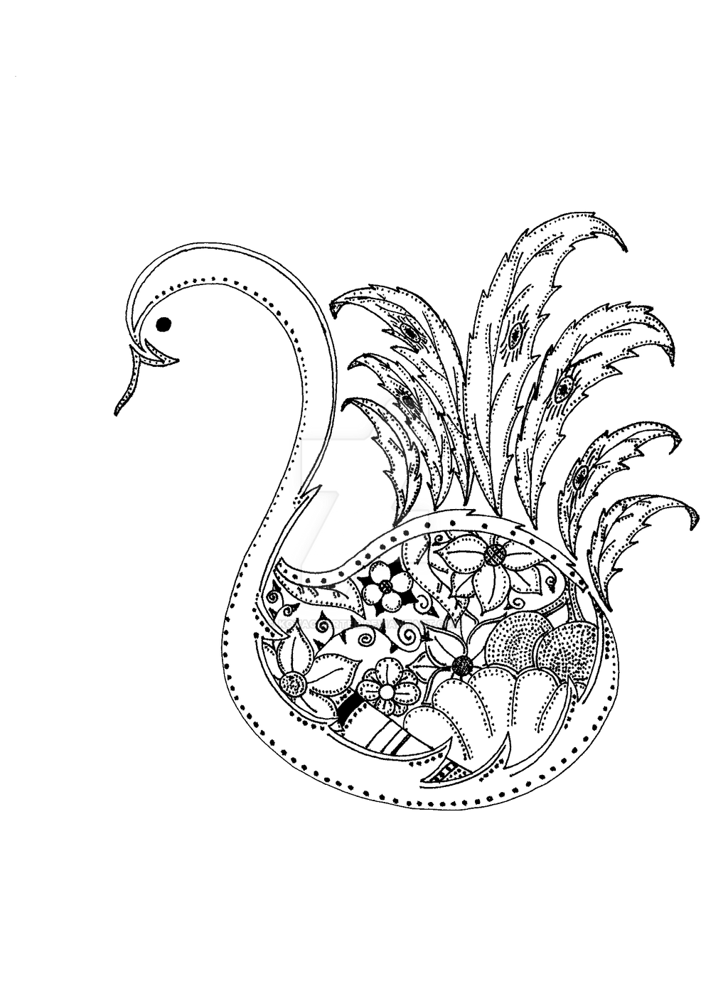 Line Drawing Of Peacock : Peacock line drawing by kovaccarter on deviantart