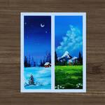 Winter vs Summer Landscape. Simple art.