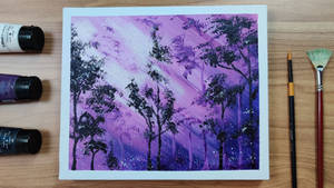 Purple forest / illustration / sunlight