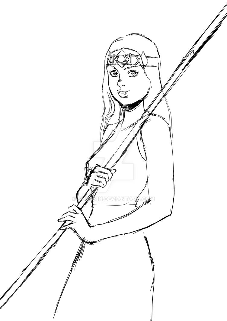 Girl with Stick by Suronin