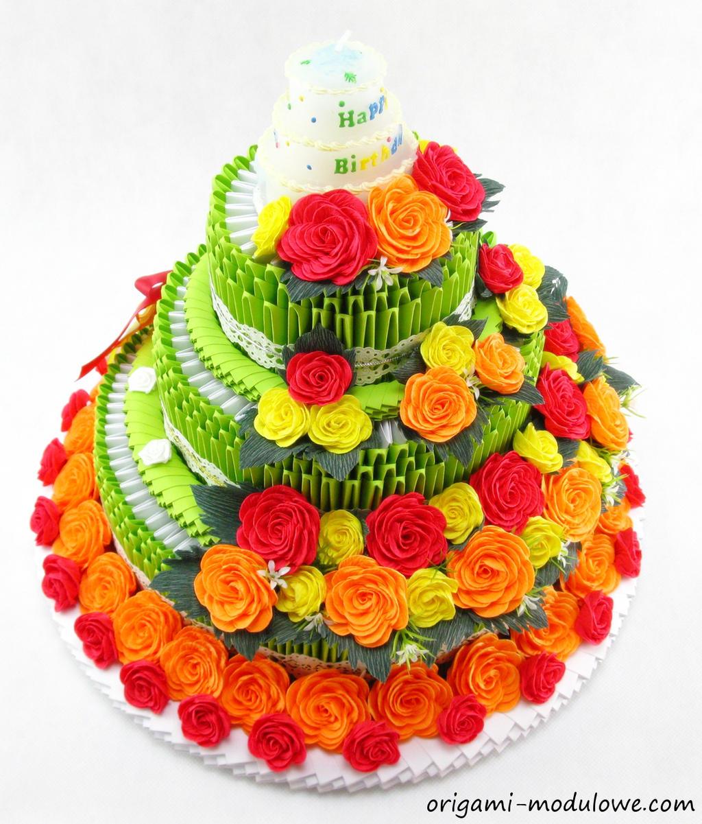 Modular Origami Birthday Cake 1 By Origamimodulowe